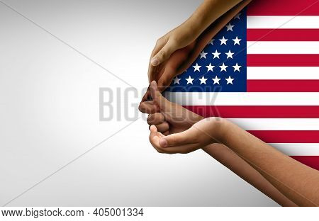American People Joining Together As One Nation As A Team Of Citizens Working As One Made Of Diverse