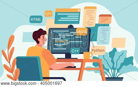 Programmer Working. Program Or Web Developer Coding On Computer. Screen With Code, Script And Open W