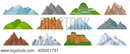 Cartoon Mountains. Snowy Mountain Peak, Hill, Iceberg, Rocky Mount Climbing Cliff. Landscape And Tou