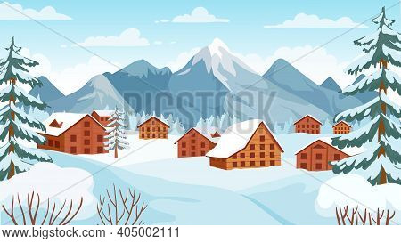 Winter Mountain With Cottages. Houses In Snowy Alpine Peak For Wintertime Holidays Vacation. Cartoon