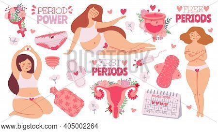 Female Menstruation. Women With Period And Hygiene Product Tampon, Sanitary Pads And Menstrual Cup.