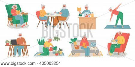 Old People Home Hobby. Senior Men, Women And Couple Work On Computer, Read, Fitness, Cook, Plant Car