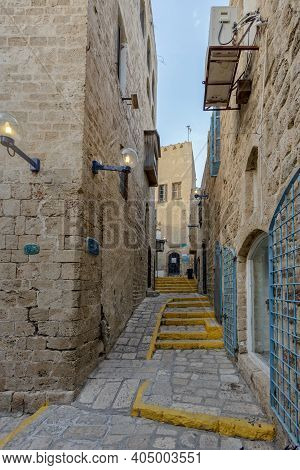 Street Sign, Tel Aviv - Yafo, Israelthe Old Narrow Streets Of Jaffa. Israel