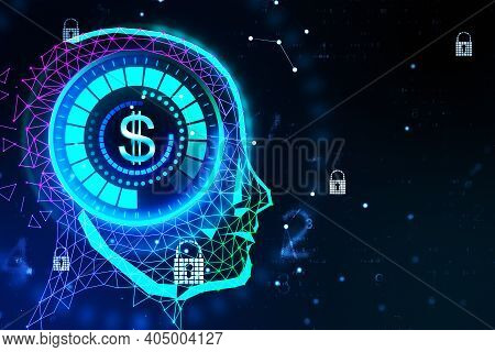 Creative Glowing Digital Head With Dollar Hologram. Robotics And Cyberspace Concept. 3d Rendering
