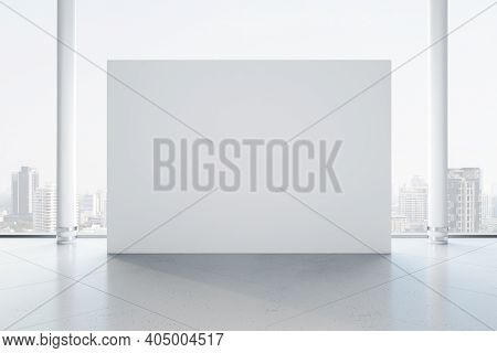 Spacious Gallery Interior With Blank Exhibition Stand. Gallery And Presentation Concept. Mock Up, 3d