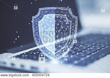 Laptop With Polygonal Antivirus Shield Hologram. Web Safety And Protection Concept. Double Exposure