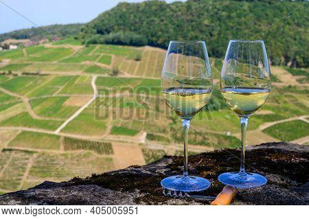 Outdoor Tasting Of White Or Jaune Jura Wine On Vineyards Near Chateau-chalon Village In Jura Region,