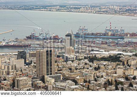 Haifa, Israel - January 07, 2016: Panoramic View From Mount Carmel To Cityscape And Port In Haifa, I
