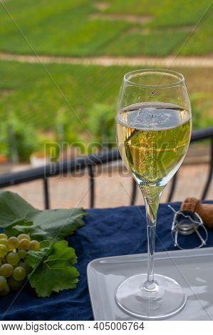 Tasting Of French Sparkling White Wine With Bubbles Champagne On Outdoor Terrace With View On Green