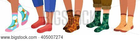 Legs In Socks. Women And Men Leg In Trendy Sock Pairs With Pattern And Texture. Flat Cartoon Female