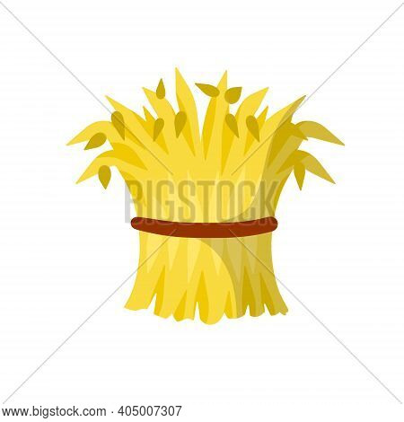 Sheaf Of Hay. Village Harvest. Yellow Dried Plants. Production Of Natural Food On The Farm. Countrys