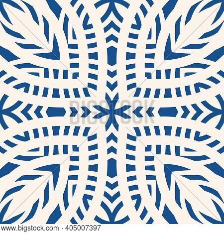 Vector Ornamental Geometric Seamless Pattern. Abstract Blue And White Floral Ornament. Elegant Backg