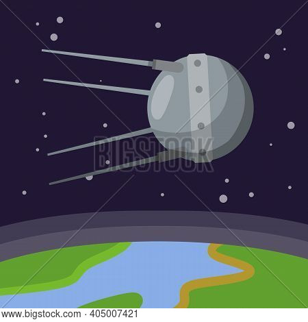 Satellite In Space Orbiting The Earth. Soviet Sputnik Fly Around Planet. Exploration Of Universe And