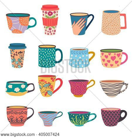 Trendy Cups. Coffee And Tea Mugs In Scandinavian Style. Side View Paper Go-cup With Modern Flower Pa