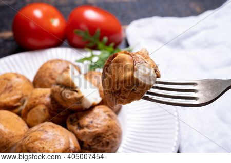 Tasty Italian Food, Small Balls Of Smoked Mozzarella Soft Cheese Close Up