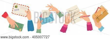 Hands Sending Letter. Female Hand Holding Envelopes With Stamps, Write And Read Paper Letters. Trend