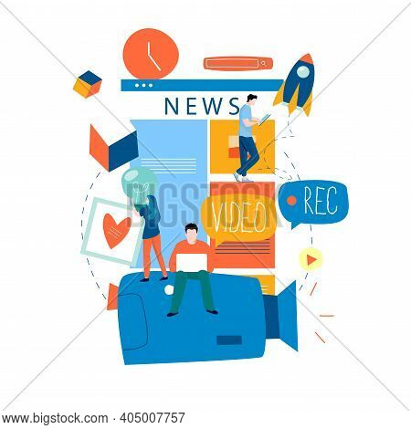 Online News Content, News Update, News Website, Electronic Newspaper Flat Vector Illustration Design