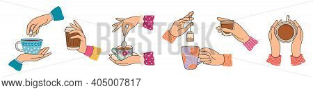 Hands Holding Tea Cups. Elegant Woman Hand With Mug With Coffee Or Cacao, Brew Tea Bag. Breakfast Ho