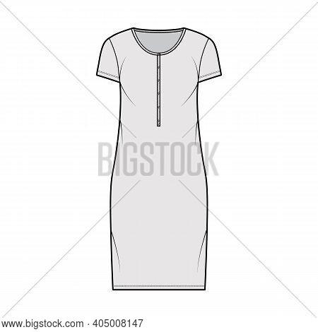 Shirt Dress Technical Fashion Illustration With Henley Neck, Short Sleeves, Knee Length, Oversized,