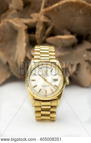 Rolex Oyster Perpetual Day- Date Watch On Desert Rose