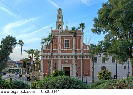 Jaffa, Israel - December 28, 2015: St. Peter's Church The Bell Tower Of The Church