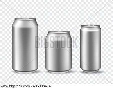 3d Aluminum Cans. Realistic Can Mockups In 3 Size. Metallic Tin For Beer, Juice, Soda Drink Or Lemon