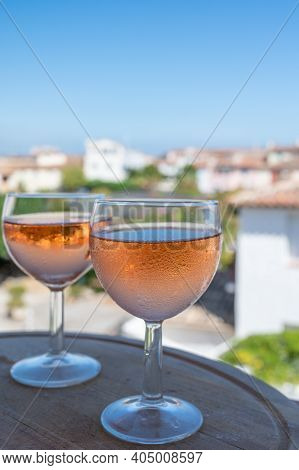 Drinking Of Local Rose Wine In Summer Provence, France