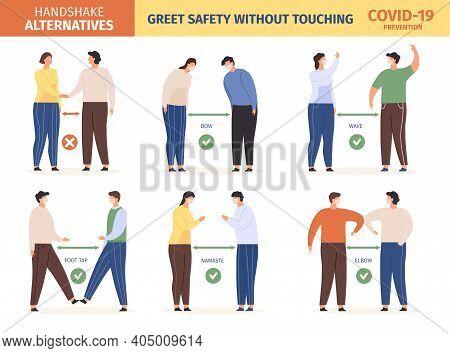 Safe Greeting. People In Mask Keep Social Distance And Use Alternative Greet, Stop Spread Coronaviru