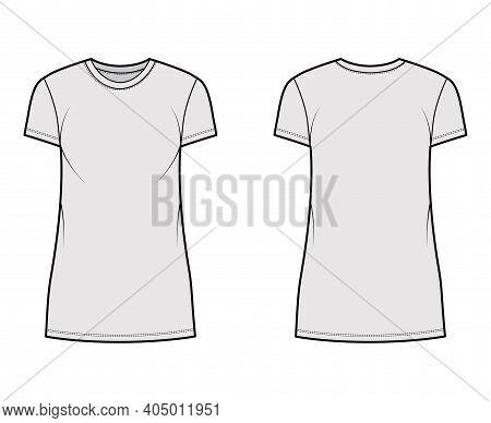 T-shirt Dress Technical Fashion Illustration With Crew Neck, Short Sleeves, Mini Length, Oversized,