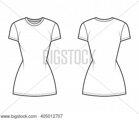 T-shirt Dress Technical Fashion Illustration With Crew Neck, Short Sleeves, Mini Length, Slim Fit, P