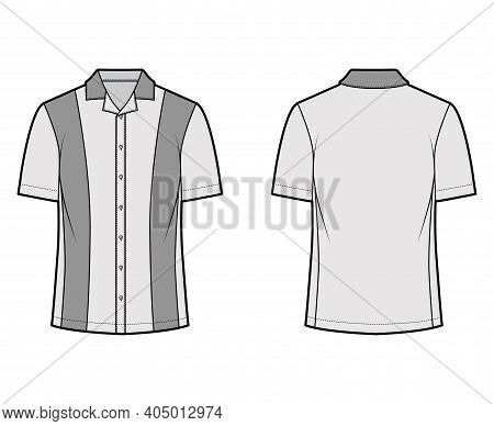 Shirt Bowling Technical Fashion Illustration With Short Sleeves, Open Collar, Tunic Length, Oversize