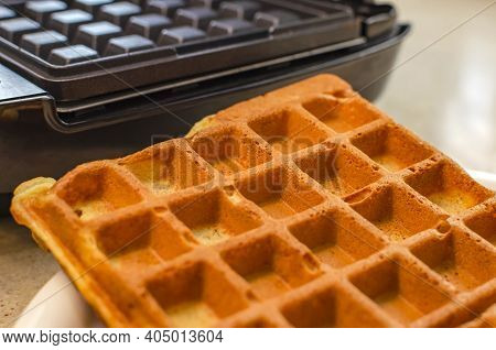 Modern Waffle Maker With Ingredients, Homemade Belgian Waffles