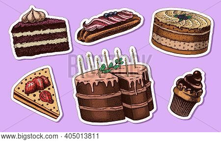 Cakes And Cream Tarts Stickers. Fruit Desserts And Muffins Label. Chocolate Donuts, Sweet Food. Hand