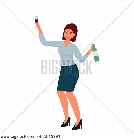 Happy Dancing Drunk Woman In Office Suite With Alcohol Beverage And Glass Isolated On White Backgrou