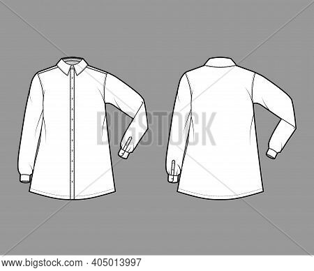 Shirt Trapeze Technical Fashion Illustration With Elbow Folded Long Sleeves, Classic Regular Collar,