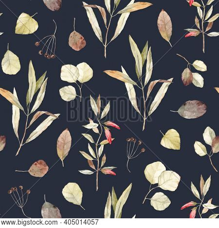 Watercolor seamless pattern with abstract plants and flowers on a black background. Vintage pattern.