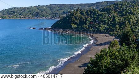 Chilean Pacific Coast. Black Beach In Shuthern Chile