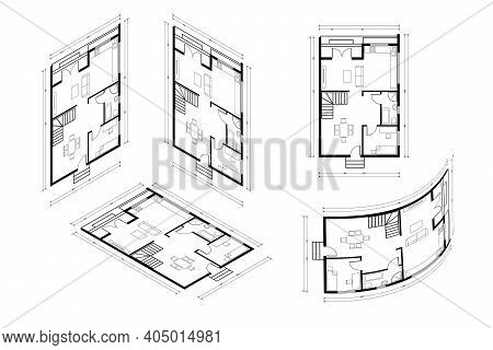 Isometric Architect Blueprint Vector Plan Of Home. Blueprint House Plan Drawing. Professional Archit