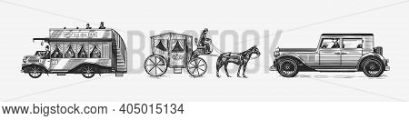 Vintage Car For Service Signboard. Locomotive Or Train. Horse Carriage. Coachman On An Old Victorian