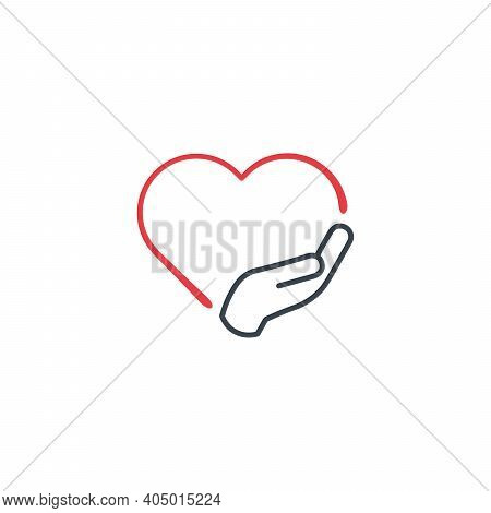 Love And Care Icon Vector Logo Template Illustration Design. Put Your Hand On The Hart. Swear Or Vow
