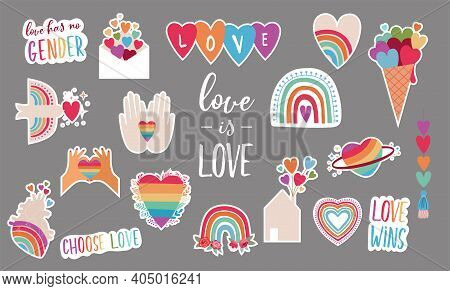 Lgbt Elements For Valentines Day. Love Symbols, Rainbow, Hearts And Quotes For Gays, Lesbian And Tra