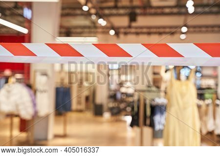 Nobody At Shop. New Normal. Lockdown Mall. Restaurant Quarantine. Hazard Infection Trouble. Red And