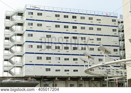 Paris, France. January 24. 2021. Prefabricated Modular Offices. Stacking Of Boxes For Construction S