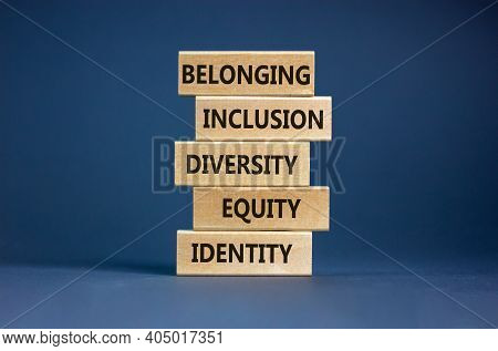 Equity, Idenyity, Diversity, Inclusion, Belonging Symbol. Wooden Blocks With Words Identity, Equity,