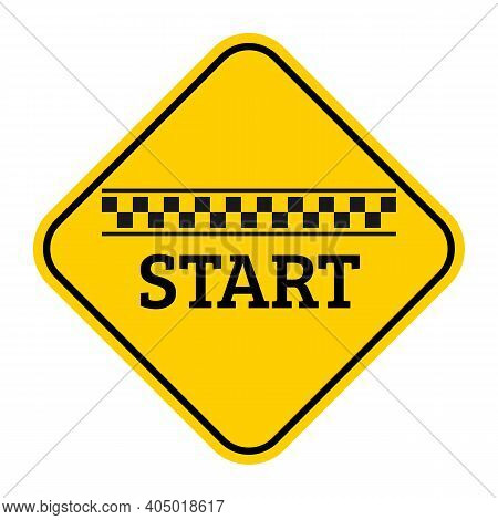 Starting Line Black Checkered Flag With Start Text Icon. Race And Motivation Concept Yellow Sign. Ve
