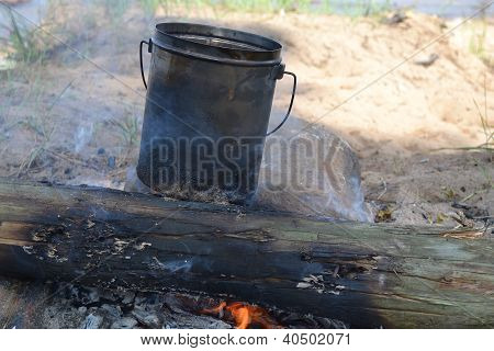 Pan on a fire