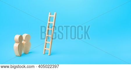 People Stand Near A Ladder To Nowhere. Career Ladder. Open Possibilities Concept. Opportunity For Gr