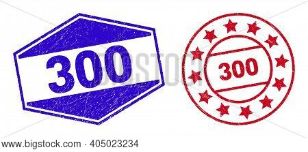 300 Stamps. Red Circle And Blue Expanded Hexagonal 300 Watermarks. Flat Vector Textured Seal Stamps