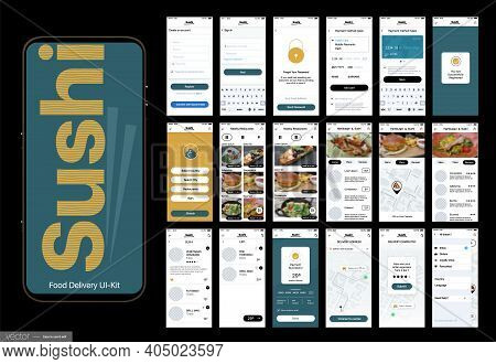 Sushi Delivery. Design Of The Mobile Application, Ui, Ux. Set Of Gui Screens With Login And Password