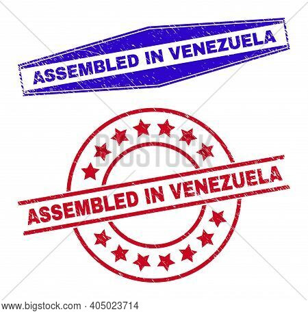 Assembled In Venezuela Badges. Red Round And Blue Stretched Hexagonal Assembled In Venezuela Rubber